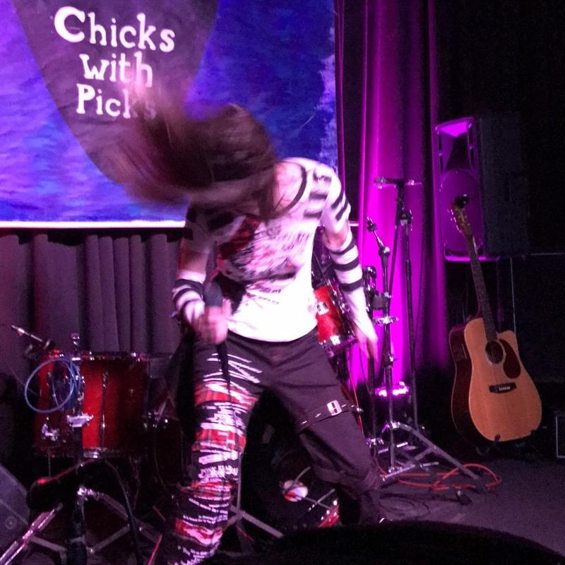 Headbanging, performing my solo music